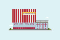 Low-rise supermarket building front view. Colorful flat vector illustration. Stock Image