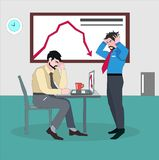 Depressed businessman with hands on the head standing next to desk of worried coworker. royalty free illustration