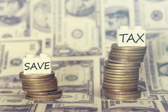 Low savings and high taxes concept Stock Images