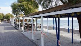 Low season for greece tourism on santorini island Stock Photography
