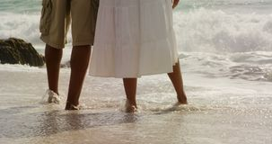 Low section of African american couple standing together on the beach 4k. Low section of African american couple standing together on the beach. Sea water stock video