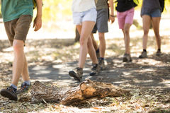 Low section of friends walking on field. During hiking Royalty Free Stock Photo