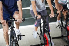 Low Section Of People On Exercise Bikes Stock Image