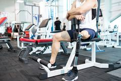 Unrecognizable Handicapped Sportsman in Gym stock images