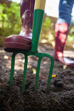 Low section of senior woman standing with garden fork on dirt Royalty Free Stock Image