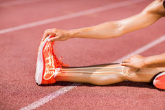 Low section of sportswoman stretching on track during Stock Photos