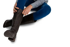Low section of woman wearing boots Royalty Free Stock Images