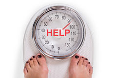 Low Section Of Woman On Weight Scale With Help Text stock photography
