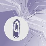 Low shoe icon on purple abstract modern background. The lines in all directions. With room for your advertising. Illustration Royalty Free Stock Images