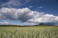 Blue skies over green landscape. royalty free stock images