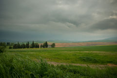 Low sky of Slovak. We where driving bikes on our way to Italy 4 days under the rain and this day wasn't an exception stock photo