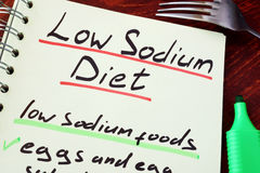 Low sodium diet. Page of a note with title Low sodium diet royalty free stock photos