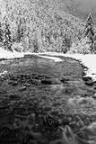 Low speed on a river in Chartreuse Black and white stock photography