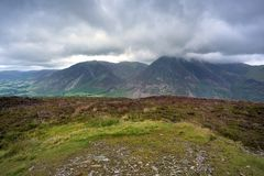 Cumbrian Mountains from Melbreak. Low storm clouds over Whiteside and Grasmoor fells Royalty Free Stock Image
