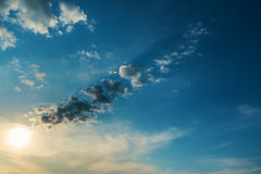 Low sun in clouds Royalty Free Stock Photo