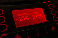 Low temperature on car display .Cold winter Stock Photography