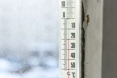 Low temperature on thermometer Royalty Free Stock Image