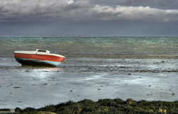 Low tide. High density range shot, with boat in France Royalty Free Stock Photos
