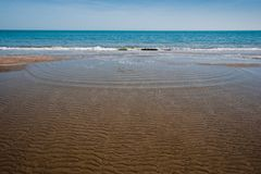 Low tide. In the morning in the Romagna Riviera, Italy, Riccione Stock Photos