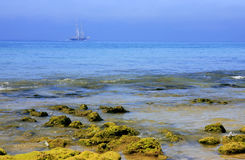 Low tide. Coastline at low tide with a boat Stock Photo