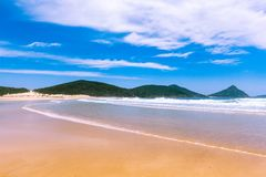 Low tide allowing passage to Fingal Island. Fingal Bay, New South Wales, Australia stock photo