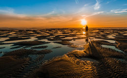 Low Tide Bach Sunset Stock Photography