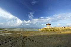 Low tide in bali. Low tide daytime in bali royalty free stock photography