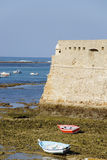 Low tide in the bay of Cadiz Stock Photos