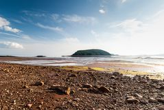 Low Tide in the Bay of Fundy reveals ocean floor. Five Islands Provincial Park: View of the Bay of Fundy at low tide Royalty Free Stock Photography