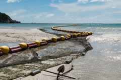 Low tide beach bouy line for swimming area. Bouy line for swimming area at Haad Rin, Koh Phangan, Thailand with clear blue sea and beautiful sky Stock Images