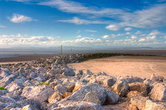 Low tide on the beach in Morecambe, HDR Image Stock Photography