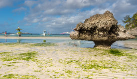 Low tide at Boracay island White Beach of Phils Stock Images
