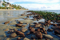 Low tide at Cleo Street and Thalia Street, Laguna Beach, California. Image shows an extreme. winter, low tide at Cleo Street with Thalia Street Beach in the royalty free stock photography