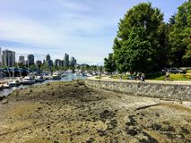 Low tide in Coal Harbour as people enjoy a beautiful day walking and biking along the sea wall in Stanley Park, in Vancouver royalty free stock photos