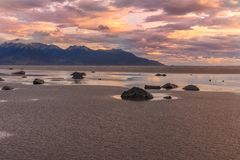 Low tide Cook Inlet Sunset. A beautiful sunset at low tide along cook inlet Alaska Royalty Free Stock Image