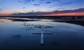 Low Tide Cross Royalty Free Stock Image