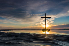 Low Tide Cross Sunset Royalty Free Stock Photography