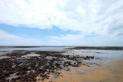 Low tide, Cumuruxatiba, Bahia, Brazil. Low tide on the beach in Cumuruxatiba, Bahia, Brazil stock images