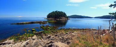 Georgeson Island in Evening Light, Gulf Islands National Park, British Columbia, Canada. Low tide exposes the seaweed covered rocks at Campbell Point on Mayne stock image