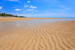 Low tide on golden sand beach Royalty Free Stock Photos