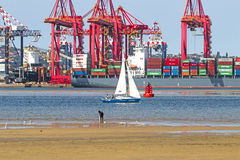 Low Tide in Harbor in Durban South Africa royalty free stock images
