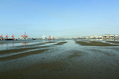 Low Tide in the Harbor, Durban South Africa Royalty Free Stock Photography