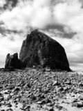 Low tide haystack rock royalty free stock photo