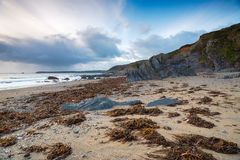 Low Tide at Hemmick in Cornwall Stock Photography