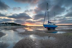 Low Tide at Instow in Devon. Beautiful sunset at Instow on the north coast of Devon, looking out to Appledore royalty free stock image