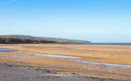 Low tide at Ligwy beach in Anglesey stock photos