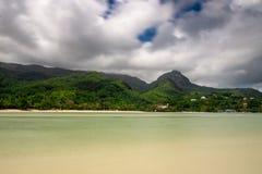 Low tide at Mahe Island, Seychelles stock photos