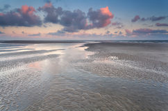 Low tide on North sea during sunrise Royalty Free Stock Images