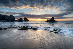 Low Tide at Porthcothan Beach Stock Image