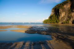Low Tide. Railay beach when low tide you must walk with mud way Royalty Free Stock Photo